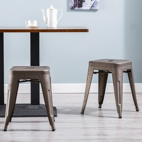 Porthos Home Una 18 Inch Stool Set of 2, Made Of Metal, Backless