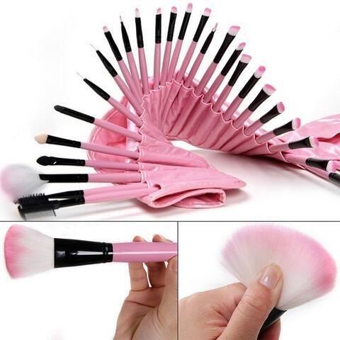 Professional 32pcs Makeup Brushes Cosmetic Tool Set with Bag - Pink