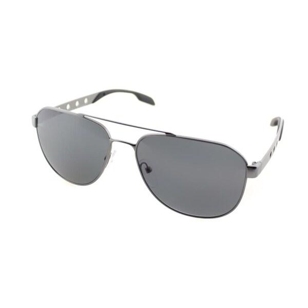 0e7ac5ba25bf Shop Prada Unisex Gunmetal Frame Grey Polarized Lens Sunglasses ...