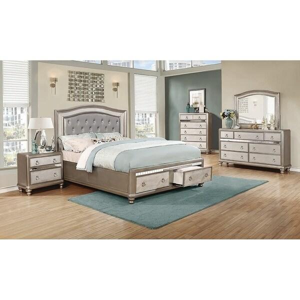 Luxe Metallic 3-piece Storage Bedroom Set with Dresser
