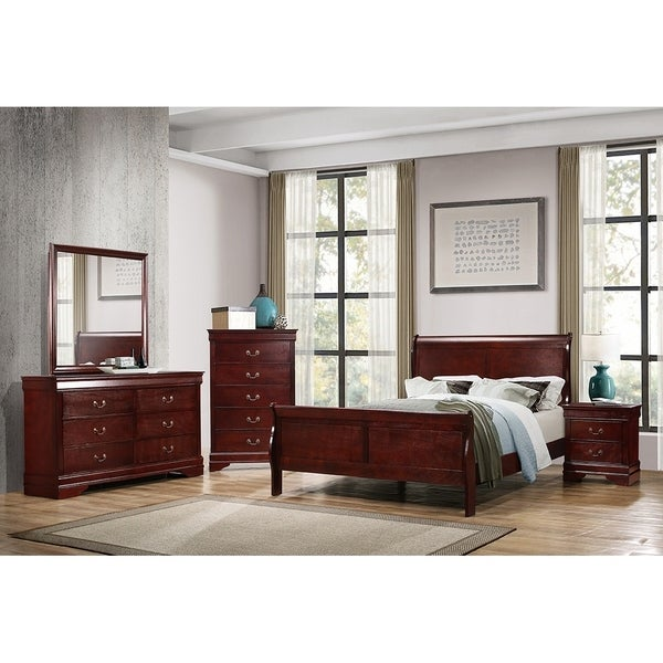 Hilltop Cherry 4-piece Sleigh Bedroom Set