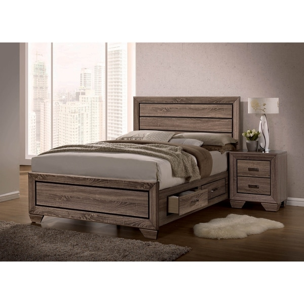 Oatfield Washed Taupe 4-piece Storage Bedroom Set with 2 Nightstands