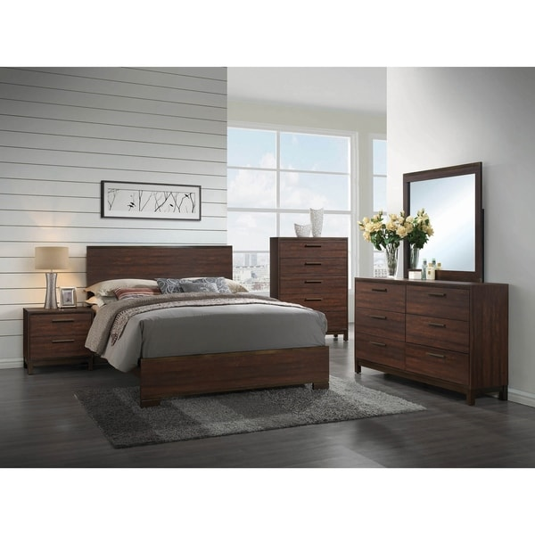 Tempest Rustic Tobacco 4-piece Panel Bedroom Set with 2 Nightstands