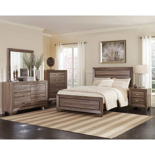 Oatfield Washed Taupe 3-piece Panel Bedroom Set with Chest