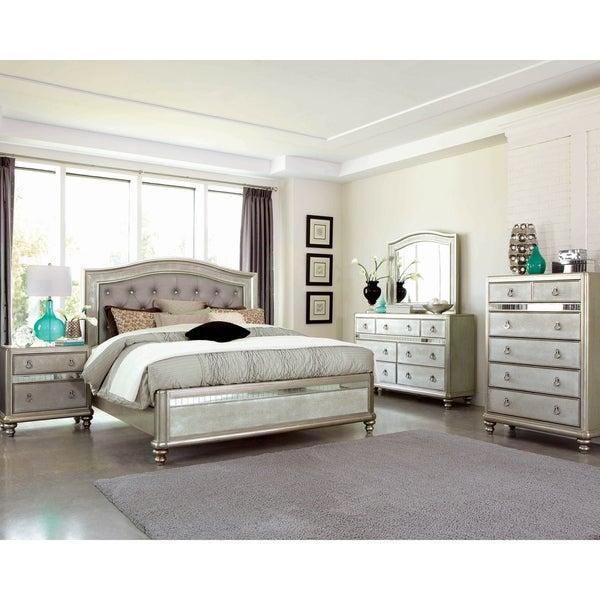 Luxe Metallic 4-piece Upholstered Bedroom Set with 2 Nightstands