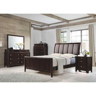 Statesman Dark Merlot 4-piece Panel Bedroom Set with 2 Nightstands