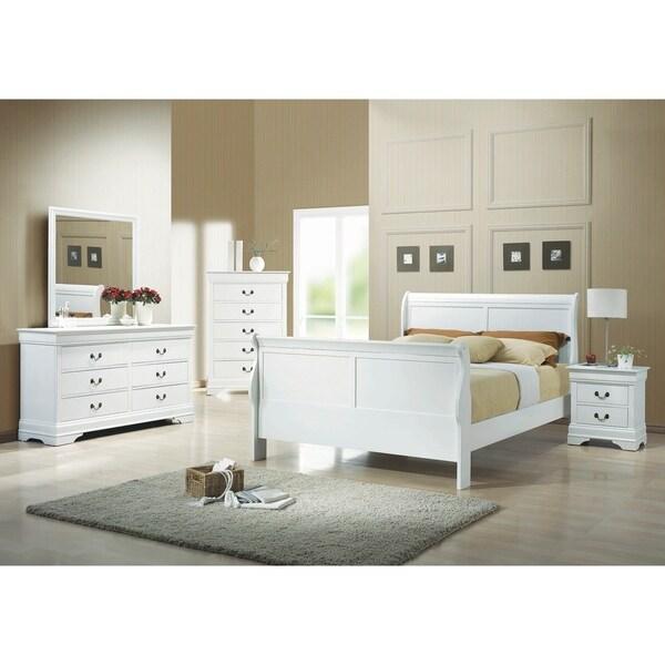 Hilltop White 5-piece Sleigh Bedroom Set with 2 Nightstands