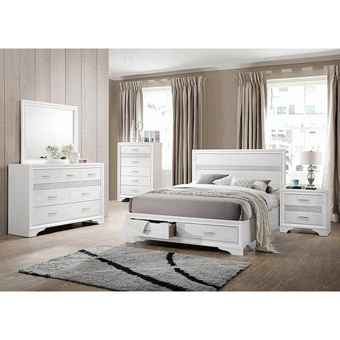 Alexandria Rhinestone 6 Piece Storage Bedroom Set