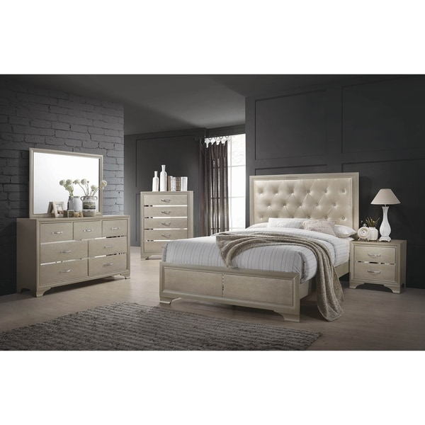 Pola Champagne 3-piece Panel Bedroom Set with Chest