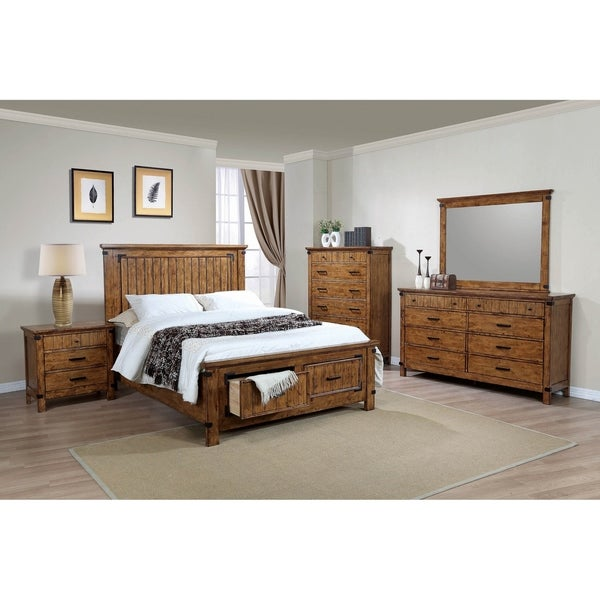 Corvallis Rustic Honey 5-piece Storage Bedroom Set with 2 Nightstands