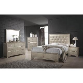 Pola Champagne 3-piece Panel Bedroom Set with Dresser