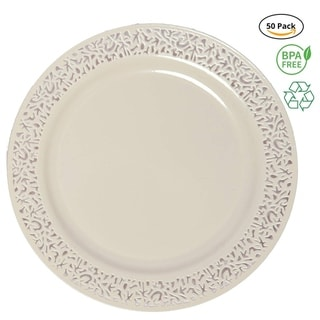 Link to Party Joy€ 50-Piece Plastic Salad Plate Set, Lace Collection, Heavy Duty Premium Plastic Plates-Ivory Similar Items in Dinnerware