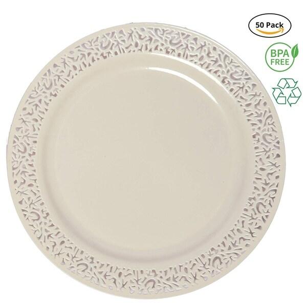 Party Joy€ 50-Piece Plastic Salad Plate Set, Lace Collection, Heavy Duty Premium Plastic Plates-Ivory. Opens flyout.