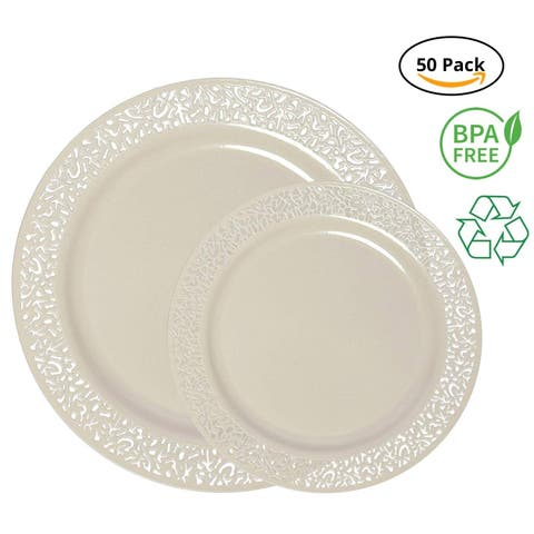 Party Joy 50-Piece Plastic Dinnerware Set, Lace Collection, (25) Dinner Plates & (25) Salad Plates (Ivory)