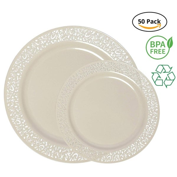 Party Joy 50-Piece Plastic Dinnerware Set, Lace Collection, (25) Dinner Plates & (25) Salad Plates (Ivory). Opens flyout.