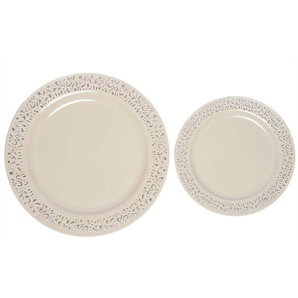 Party Joy 200 Piece Plastic Dinnerware Set Lace Collection 100 Dinner Plates 100 Salad Plates Ivory Overstock 28255823