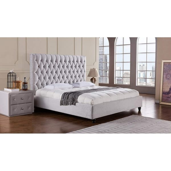 Shop Fabric Upholstered Wooden California King Bed With High Button Tufted Headboard Gray On Sale Overstock 28255830
