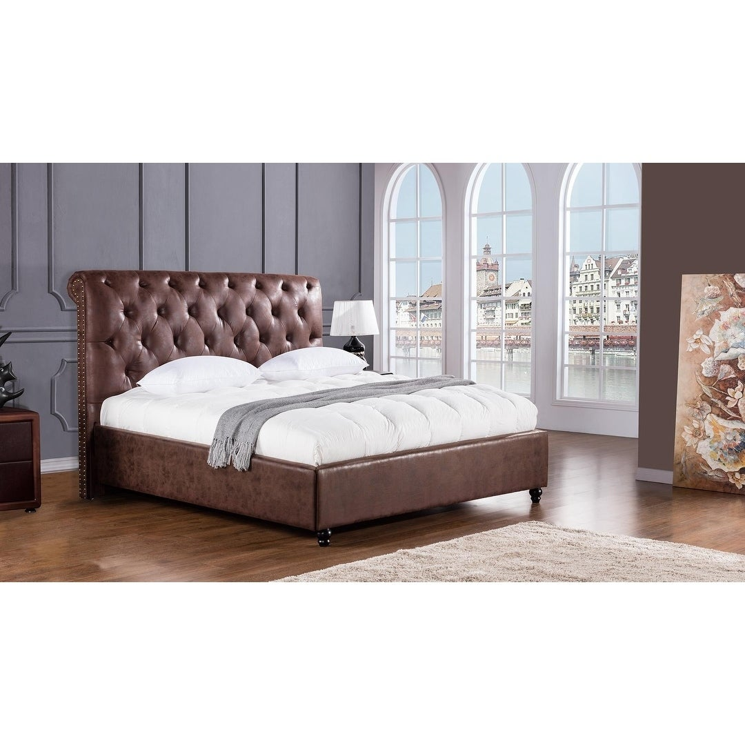 Shop Black Friday Deals On Leatherette Upholstered Wooden Eastern King Size Bed With Button Tufted Headboard Brown On Sale Overstock 28255833