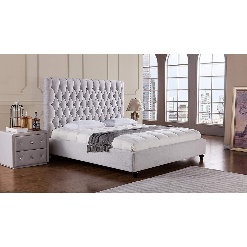 King Grey First Hill Upholstered Tufted Headboard