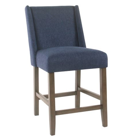 Fabric Upholstered Wooden Counter Stool with Curved Backrest and Cushion Seat, Navy Blue