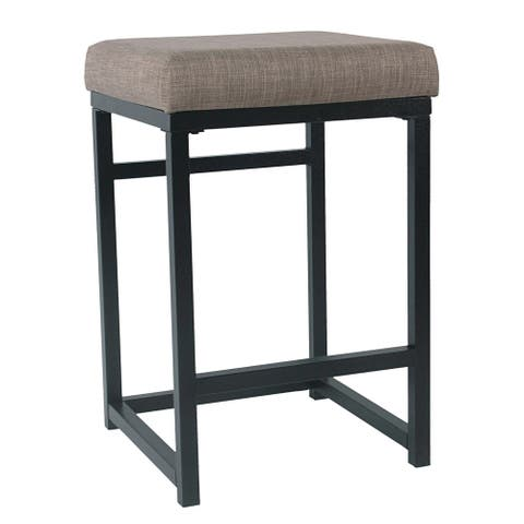 Metal Open Back Counter Stool with Fabric Upholstered Padded Seat, Brown and Black