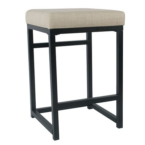 Open Back Metal Counter Stool with Fabric Upholstered Padded Seat, Beige and Black