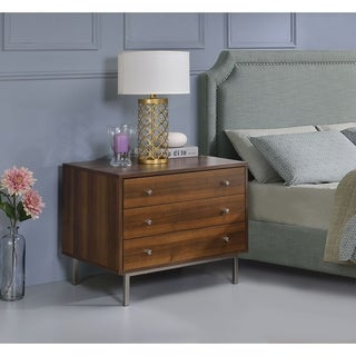Three Drawers Wooden Nightstand with Metal Base and Knob Handle, Brown and Silver