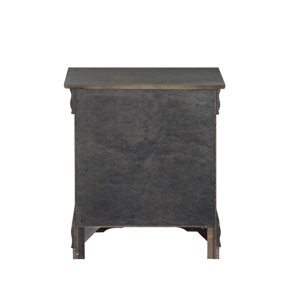 Traditional Style Wooden Nightstand with Two Drawers and Metal Handles, Dark Gray