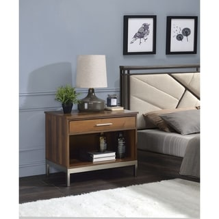 Metal Stand Wooden Nightstand with Drawer and Open Shelf, Brown and Silver