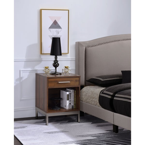 Spacious Wooden Nightstand with Metal Base, Brown and Silver