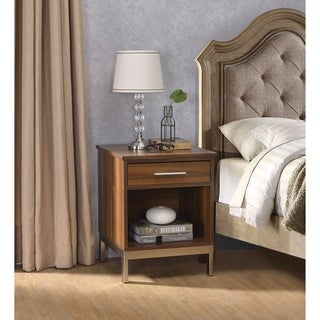 Spacious Wooden Nightstand with Metal Base, Brown and Gold