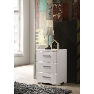 Three Drawers Wooden Nightstand with Metal Handles, White and Silver