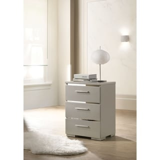 Three Drawers Wooden Nightstand with Metal Handles, Silver