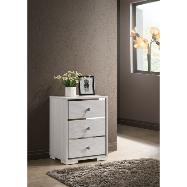 Three Drawers Wooden Nightstand with Crystal Knob Handles, White and Silver