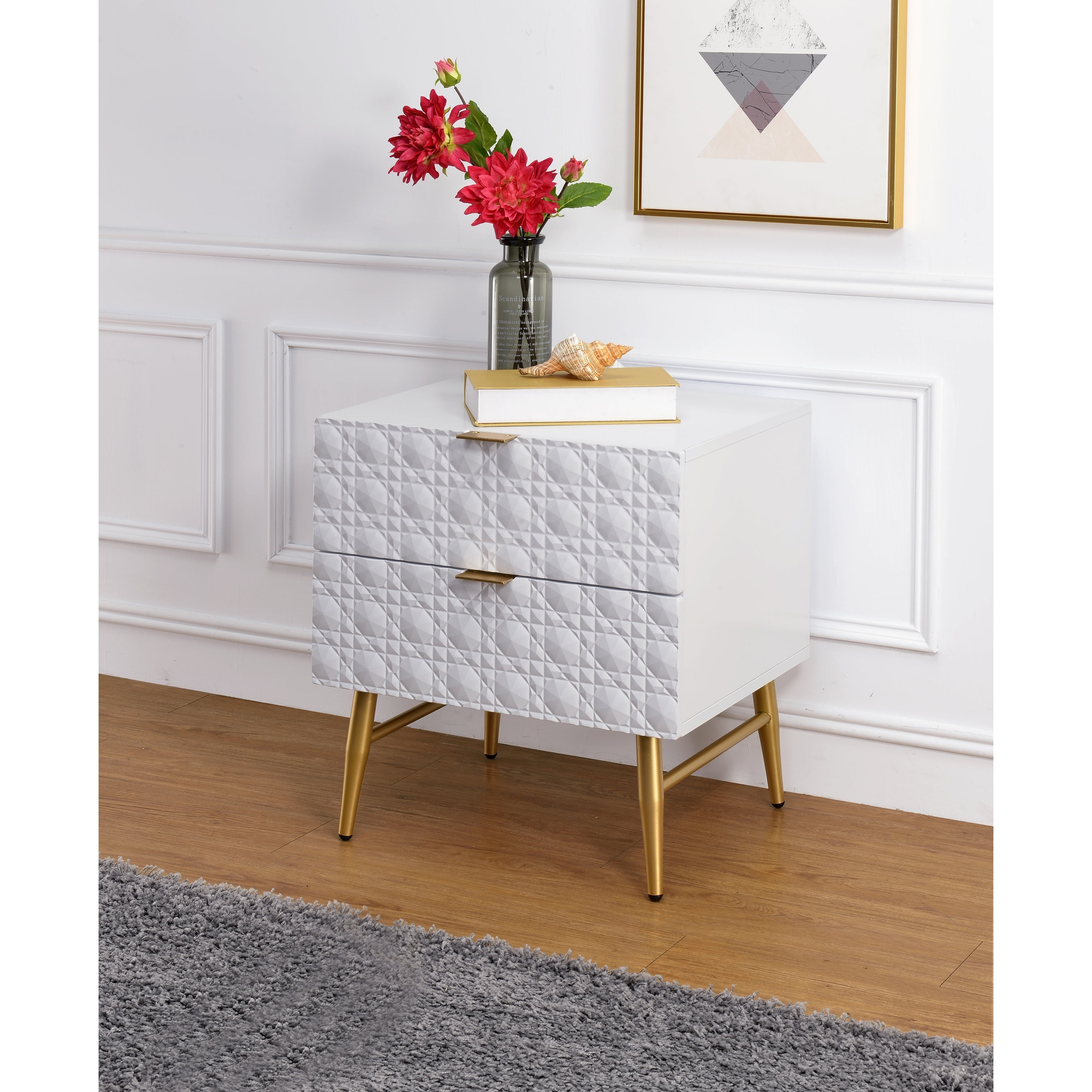 Two Drawers Wooden Nightstand With Textured Front Panel And Tapered Legs White And Gold