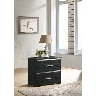Two Drawers Wooden Nightstand with Bracket Legs, Black