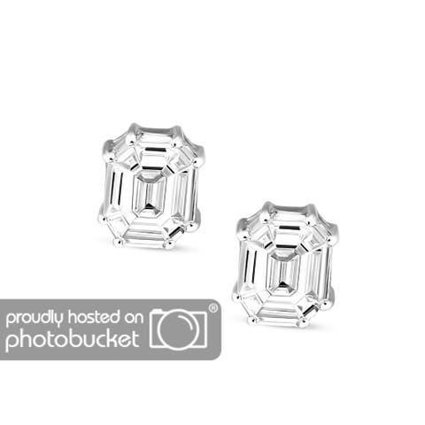 Tanache Emerald SI IGI Diamond Stud Earrings In Solid White Gold