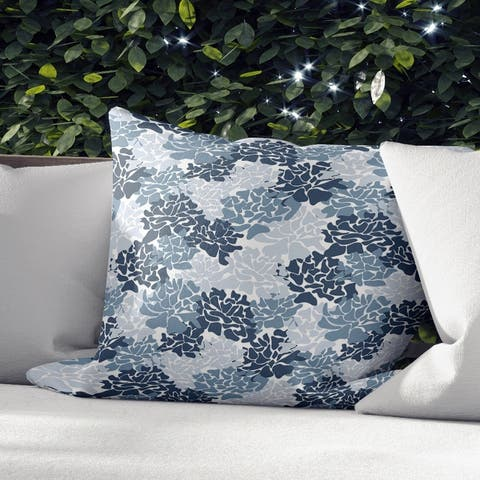 Porch & Den Lariat Blue Peonies Indoor Throw Pillow