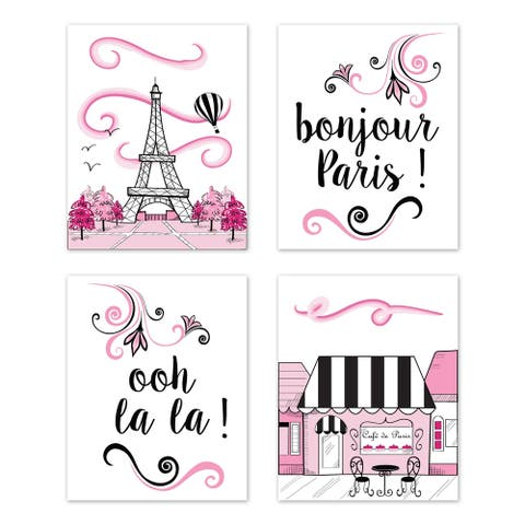 Sweet Jojo Designs Pink, Black and White Eiffel Tower Paris Collection Wall Decor Art Prints (Set of 4) - French Cafe