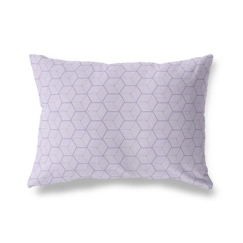 GEOCUBE PURPLE Lumbar Pillow By Kava Designs