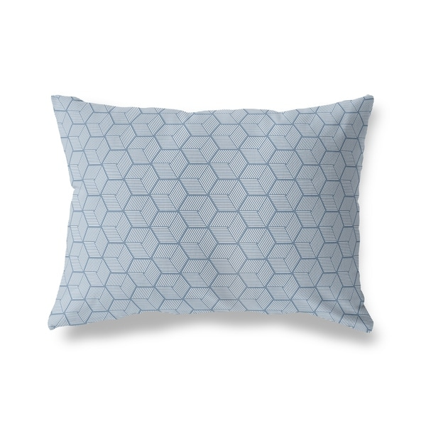 GEOCUBE BLUE Lumbar Pillow By Kavka Designs