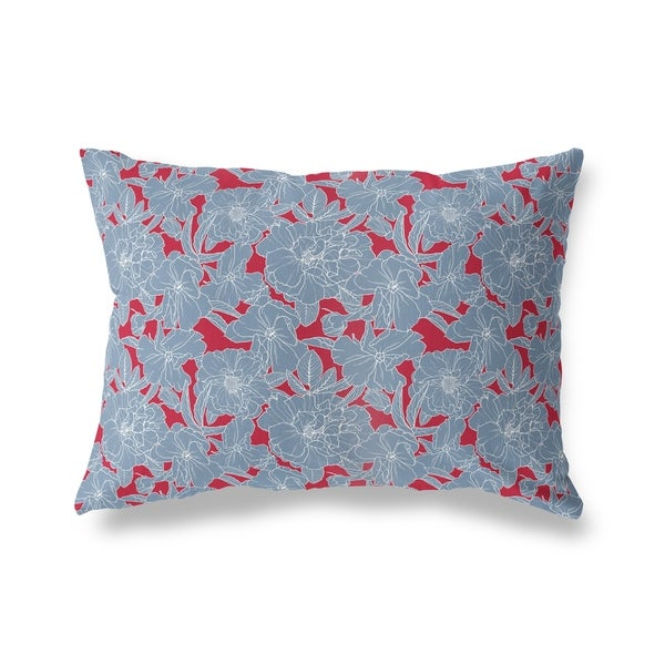 FLOWER POWER BLUE AND RED Lumbar Pillow By Kavka Designs