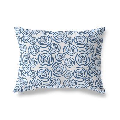 FLEUR BLUE Lumbar Pillow By Kava Designs