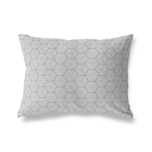 GEOCUBE DARK GREY Lumbar Pillow By Kavka Designs