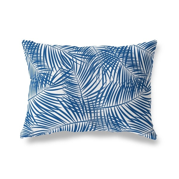 PALM PLAY BLUE ON WHITE Lumbar Pillow By Kavka Designs