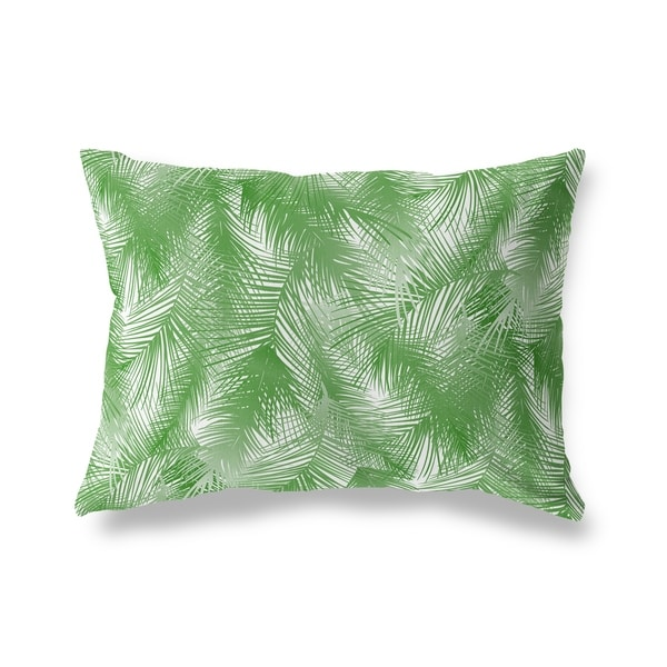PALM CHEER GREEN ON WHITE Lumbar Pillow By Kavka Designs