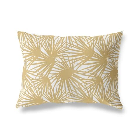 PALM BALM GOLD AND WHITE Lumbar Pillow By Kava Designs