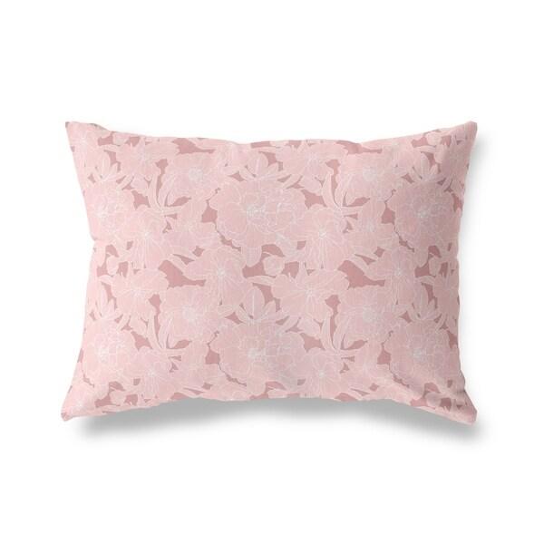 FLOWER POWER LDARK PINK Lumbar Pillow By Kavka Designs