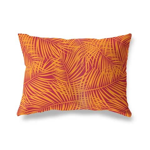 PALM PLAY RED ORANGE Lumbar Pillow By Kava Designs