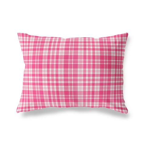 PLAYFUL PLAID PINK Lumbar Pillow By Kava Designs